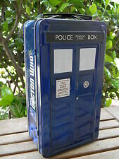 Doctor Dr. Who TARDIS Shaped Police Box Tin Tote Phone Booth Lunch Box BBC NEW