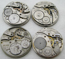 LOT OF 4 ANTIQUE 12S POCKET WATCH MOVEMENTS PARTS