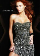 REDUCED Sherri Hill 2304 silver short formal cocktail evening dress size 2 NWT