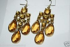 NWT Banana Republic French Hook Wire Crystal Drop Chandelier Earrings Topaz $45