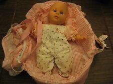 """Gi-Go Baby 13"""" Doll Sounds Sleepy Eyes Carrier Pillow Diaper Bag Romper Lot"""