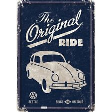 VW Volkswagen Beetle Ride Blechpostkarte Blechschild Tin Card Sign 10 x 14 cm