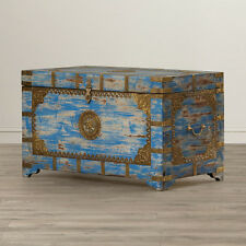 Anthropologie Style Moroccan Painted Brass Inlay Storage Trunk Blue & Gold