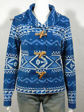 New RALPH LAUREN Shawl Collar Toggle-Close French Terry Cardigan Blue size L