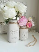 Painted Mason jars set of 2 - Perfect for Weddings/ Home Decor/Centerpieces