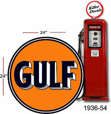 "(GULF-1) 24"" 1936-54 GULF PUMP GASOLINE DECAL OIL CAN / GAS PUMP / LUBSTER"
