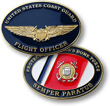 Coast Guard Flight Officer Challenge Coin USCG Wings Insignia Oval US Pilot
