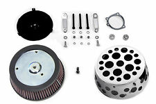 Air cleaner kit w/holes incl. back plate & chrome cover for CV & EFI carburetors