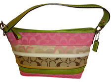 COACH BLEEKER Pink & Green Signature Multi Stripe Small Hobo #14725
