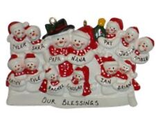 Personalized Snowman Family of 13 Christmas Ornament