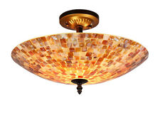 "MOSAIC SHELL 2 LIGHT 16"" SEMI FLUSH CEILING LAMP MULTI TONE SEA SHELL GLASS"