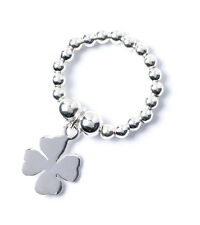 925 Sterling Silver Ball Bead TOE Ring with Lucky Four Leaf Clover Charm RTR007