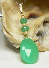 RARE BIG NATURAL FACETED AUSTRALIAN GREEN CHRYSOPRASE 14K GOLD PENDANT CHARM