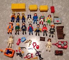 PLAYMOBIL LARGE LOT Of 17 FIGURES Townspeople Hockey Construction Accessories +