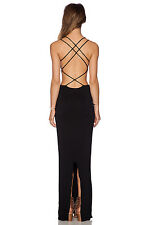 Indah Tamaa Backless Long Black Summer Beach Party Dress  M L NEW