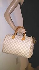 LOUIS VUITTON Damier Azur Speedy 30 White Beige Handbag