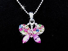 New  Butterfly Silver Tone Multi Color Crystal Pendant Charm Necklace