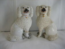 Pair of Vintage Antique Staffordshire Porcelain Dogs Figurines