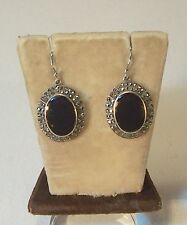 ART DECO ONYX AND SILVER MARCASITE EARRINGS