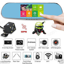 Quad Core 5'' Android 4.0 Wifi Car Rearview Mirror GPS 1080P DVR+ Backup Camera