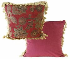 """LUXURY ROYAL RED GOLD TAPESTRY TASSELED CHENILLE THICK CUSHION COVER 22"""" - 55CM"""
