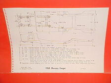 1968 MERCURY COUGAR XR-7 XR7 HARDTOP SPORTS COUPE FRAME DIMENSION CHART