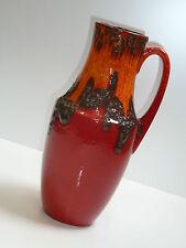 70er SCHEURICH VASE 407-35 fat lava orange rot schw. / stunning 70s ceramic vase
