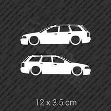 2x Audi A4 B4 Avant wagon lowered car shape side sticker decal vinyl - White