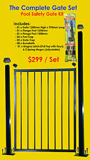 Flat Top Pool Gate Set: Includes Bolted Flange Posts, Child Proof Lock Kit