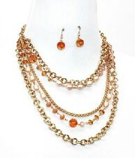 Gold Peach and Multi Colored Beaded FASHION Necklace Set
