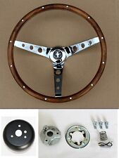 "New! 65-1969 Ford Mustang Grant Steering Wheel Wood 13 1/2"" real wood - walnut"