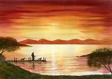 MAN DOGS WALKING BY LAKE 6848 GREYHOUND WHIPPET LURCHER DIANNE HEAP SUNSET TREES