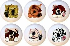 Set of 6 Talk to the Paw Dogs CERAMIC Drawer Pulls Dresser Drawer Cabinet Knobs