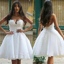 Sweetheart Short Applique Lace Wedding Bridal Gown Dresses Custom Size Sexy 2016