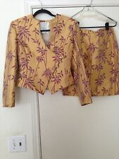 Collection by Mary McFadden Saks Gold/Burgundy Jacquard Skirt Suit Sz 6
