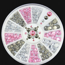 4 Size Mixed Lot Glitter Rhinestones 3D Nail Art Tips Decor Cute DIY Accessories