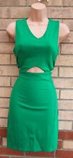 FASHION UNION GREEN CUT OUT SIDES SEXY BANDAGE TUBE PENCIL BODYCON DRESS XS 6
