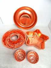 Vintage Mid Century Copper Bundt Cake Jello Aspic Kitchen Mold Aluminum Tin Lot