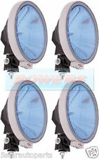 "4 x SIM 3228 12V/24V 9"" ROUND BLUE LENS NARROW PENCIL BEAM SPOTLIGHTS SPOTLAMPS"