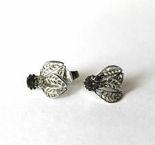 Vintage Silver Tone Gray Rhinestone Filigree Clip on Earrings