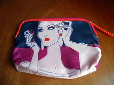 ESTEE LAUDER Medium Size Black Background Patterned Zip Top Make Up Bag - BN