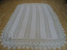 TRADITIONAL ANTIQUE CROCHETED FRENCH  BEDSPREAD HAND MADE QUEEN SIZE
