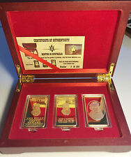 """""""NED KELLY"""" Set Of 3 x 1oz Ingots With Display Box Finished in 999 24k Gold LTD"""