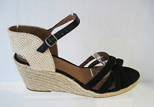LUCKY BRAND KALESSIE WEDGE ROPE ESPADRILLE BLACK FABRIC SANDALS  6 1/2 M