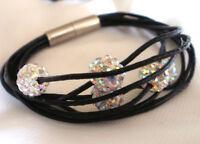 Shamballa Bead Echt Leder Magnet Armband versch. Farben 0727