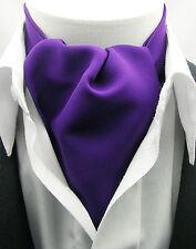 New Modern Day Silk Ascot Cravat Tie Purple Matte Extra Long