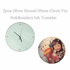 2Pcs Blank Sublimation Transfer Glass Clock Printing Heat Press Christmas Crafts