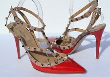 Valentino Rockstud T Strap Red Nude Pumps Size 40 / 10