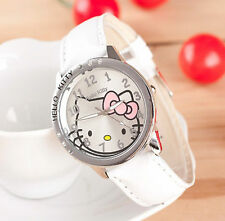 Kids Girls Hello Kitty White Wrist Watch Analog Leather Strap Steel Back