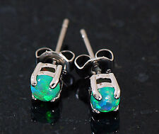 1 Pair 316L Surgical Steel W/ 4 MM Lt Green Fire Opal Earrings Ear Stud  20g